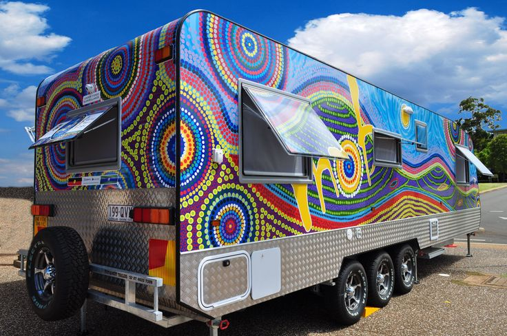 "The Mobile Outreach Boomerang medical van busy ""Closing the Gap"" in Indigenous health in Queensland. Design based on original artwork by Kim Walmsley. Project Manager: Kim Besley-Scott. Wrap Design: Mary-Kate Khoo"