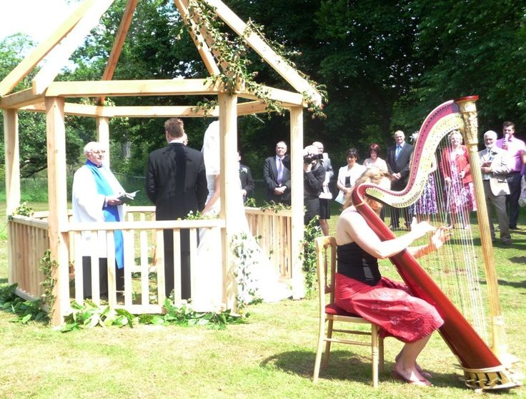 Welsh garden ceremony with harpist