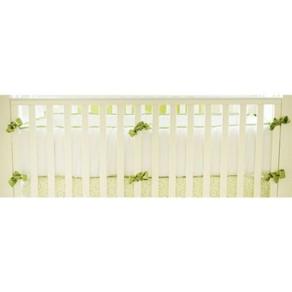 Pique White Crib Bumper with Green Trim and Green Silk Ties