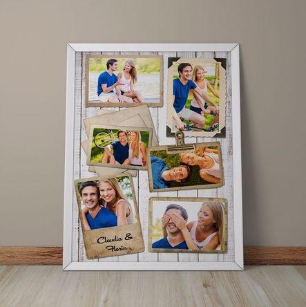 Tablou personalizat cu 6 poze în design vintage