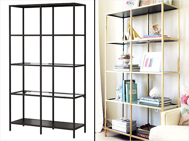 Ikea Hack: Vittsjö Shelving Unit. All you need is gold paint. #home #diy http://www.ivillage.com/ikea-hack-how-transform-and-repurpose-your-ikea-furniture/7-a-525310