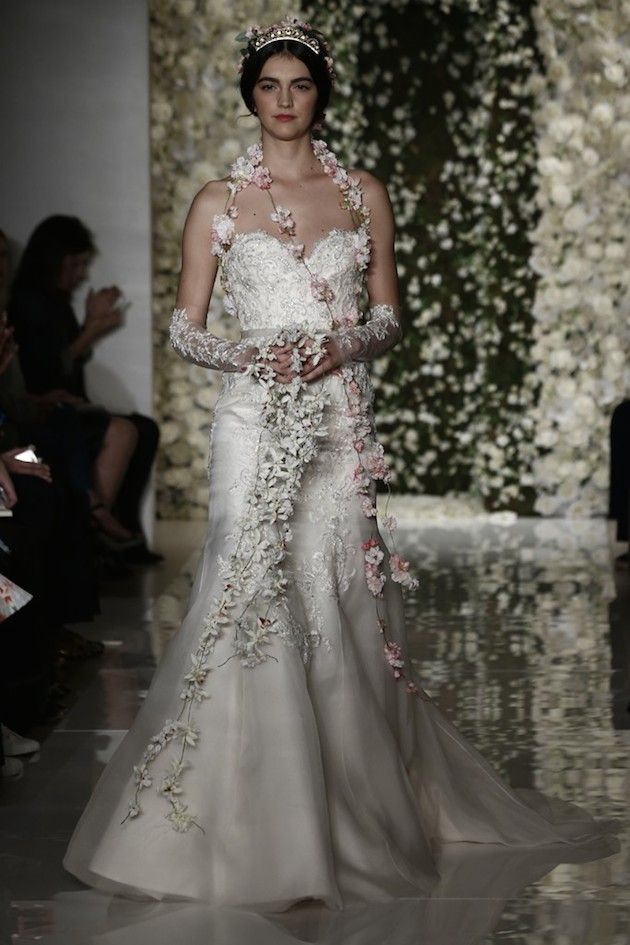 lace cuffs and floral garlands at Reem Acra