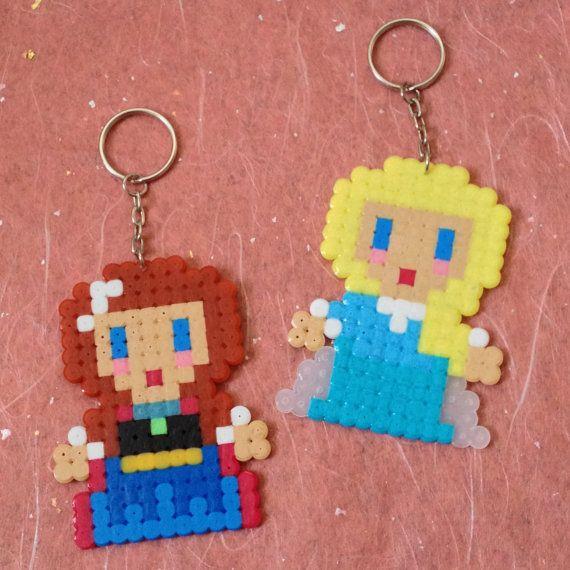 Frozen Anna & Elsa Keyrings hama perler beads by ZoZoTings