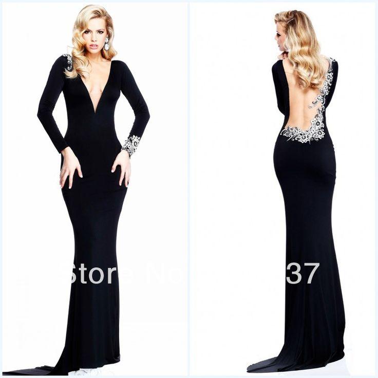 Long sleeve backless black dress
