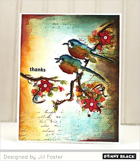 Penny Black The Sweetest Sound stamp Thank You card by Jill Foster