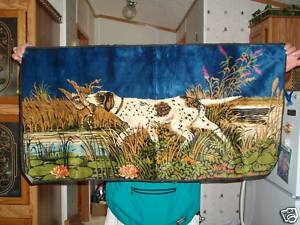 """VINTAGE TAPESTRY """"DOG HUNTING DUCK SCENE"""" WALL HANGING~19.5""""H x 40""""W   eBay"""