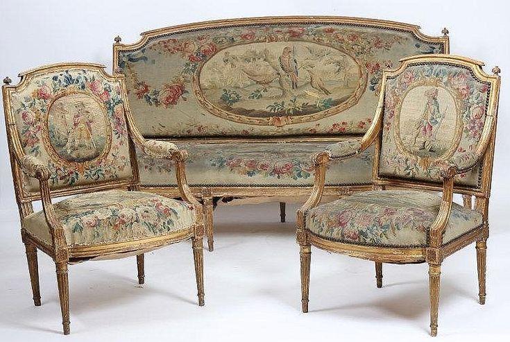RARE SALON EN BOIS DORE LOUIS XVI Salon de trois pièces, com