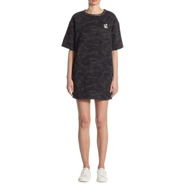 Marc Jacobs Camo Cotton T-Shirt Dress ($210) ❤ liked on Polyvore featuring dresses, embellished dress, camo dress, camouflage dresses, cotton tee dress and t shirt dress