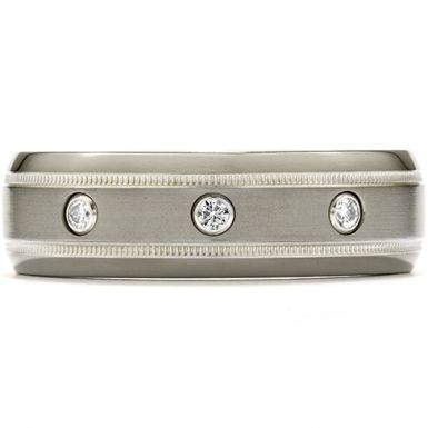 Hearts On Fire Commanding Grey Titanium Milgrain Inlay Dome Band This lightweight, grey titanium band is designed with a milgrain inlay around the edges, and three small diamonds in the center. The subtle design creates a bold and masculine look, perfect for men that are looking for a classic ring, with unique character.
