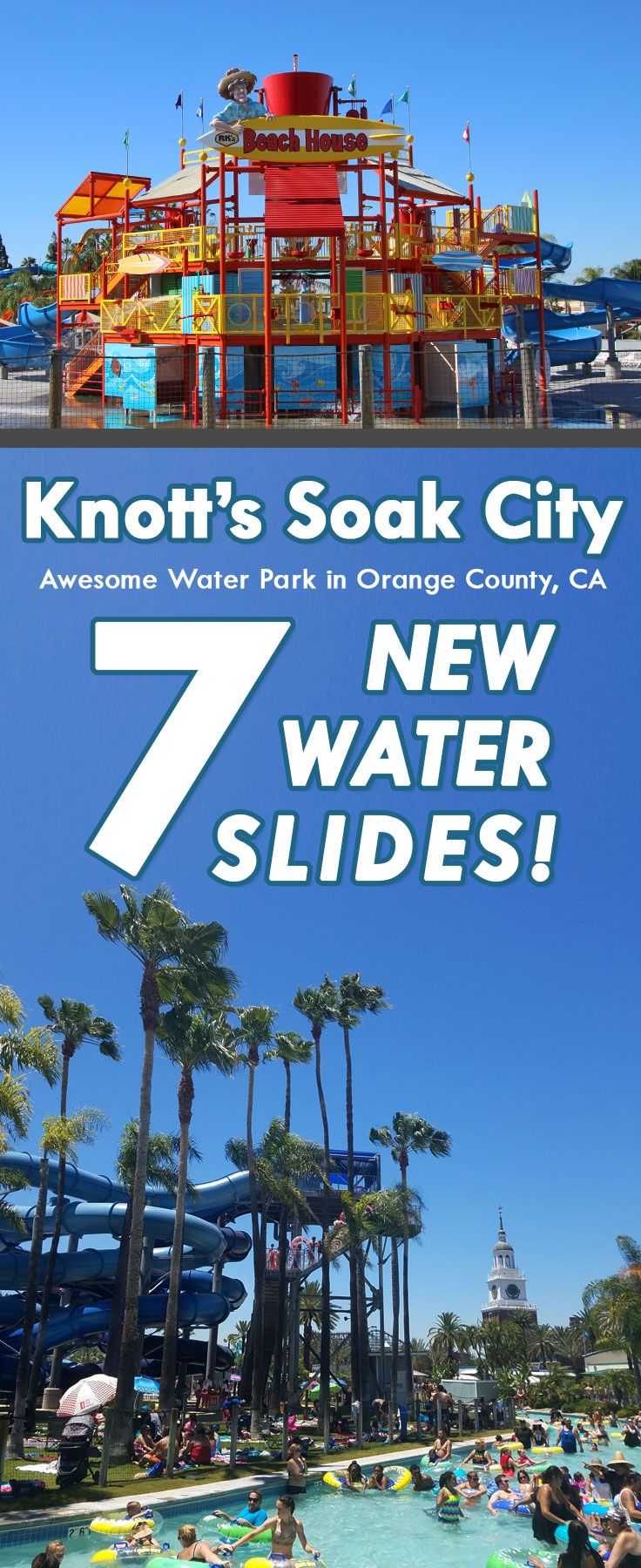 Knott's Soak City Water Park in Buena Park. Across the street from Knott's Berry Farm in Orange County California.  Perfect SoCal amusement park for a trip to SoCal!  Highlights Along the Way