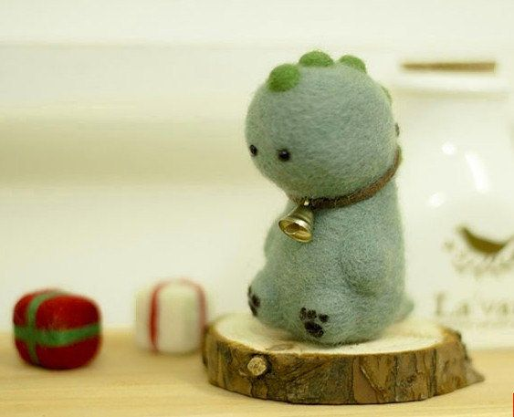 DIY Needle wool felt Super cute Dinosaur needle felt KIT    Size :high ≈5cm (depends on how you make it)  there is Paper that you can follow,