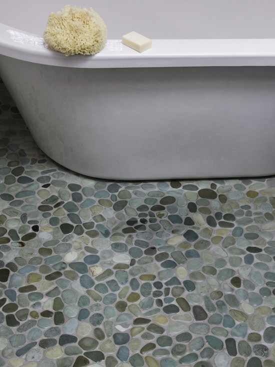 Island Stone Birds Egg Blend Perfect Pebble Floor-Main bath floor