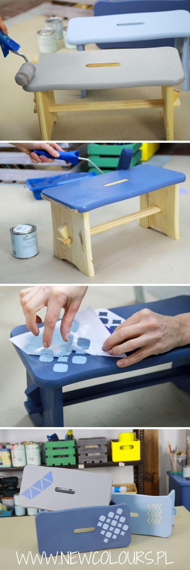 Sosnowe podnożki w nowych kolorach - Fabry DIY Newcolours. Blue and gray stools - Newcolours DIY Paints.