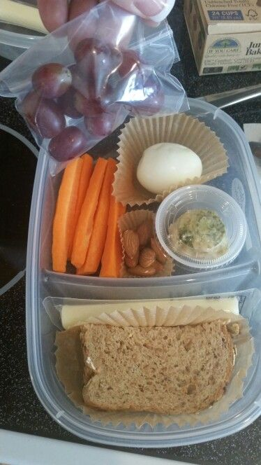 """Ok here it is... Copy cat """"bistro box"""" from Starbucks...21 df approved!!! I feel like this will be a filling snack/lunch to keep you going for the day!  What's in it... Carrots Hummus 1 pc whole grain bread Tsp PB HB egg Grapes Almonds  String cheese. See comments below for 21 df equivalents... Enjoy!!"""
