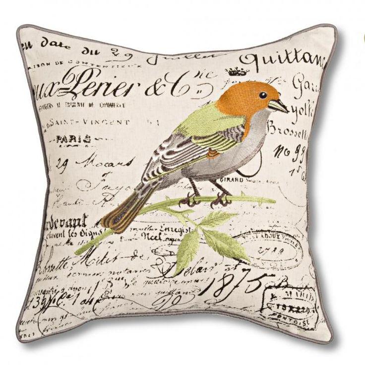 Wren Bird Cushion - Vista Blinds QUALITY printed and piped faux linen cushion. 45cm x 45cm.
