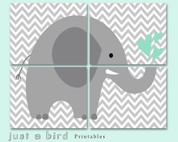 Grey and mint green nursery decoration  Jungle Elephant decor Children Wall Art Kids Room printable elephant art  Four 8x10 INSTANT DOWNLOAD