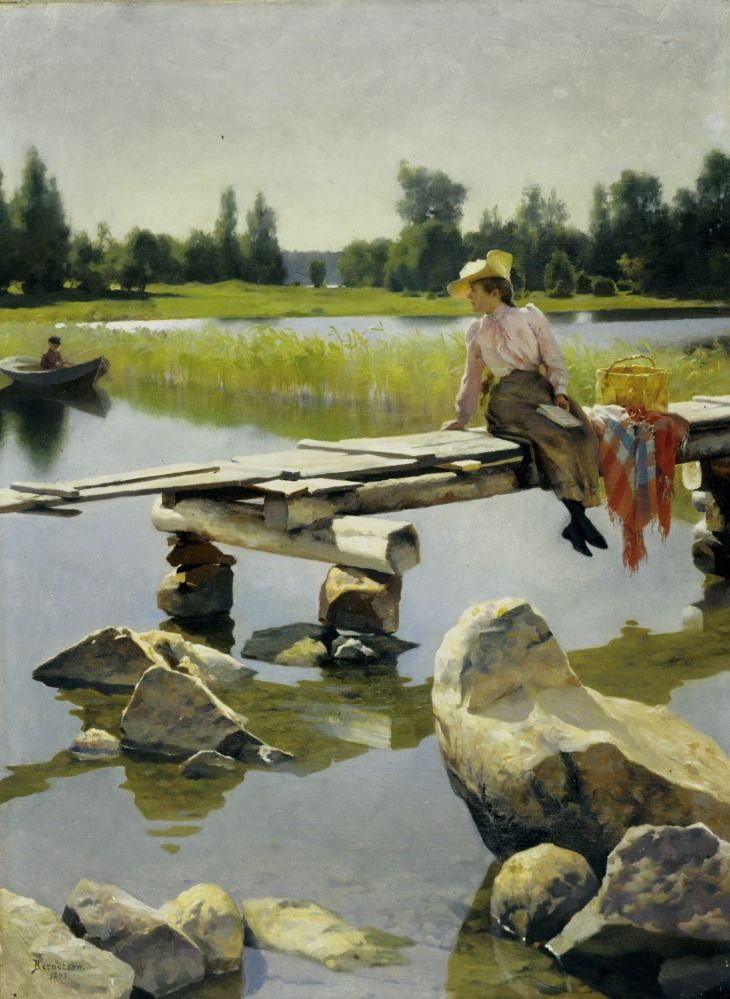 Summer (1893). Gunnar Berndtson (Finnish, 1854-1895). Berndtson could be called a salon painter who specialised in the depiction of beautiful fabrics, luxury objects and a sophisticated lifestyle. He painted Finnish landscapes in the spirit of French plein-air realism. Summer was painted in Pernaja. The painting is an example of illusionism from the end of the 19th century. In Summer, time stands still. The girl is Berndtson's niece Karin, who was 15. The boy fishing is 7-year-old brother…