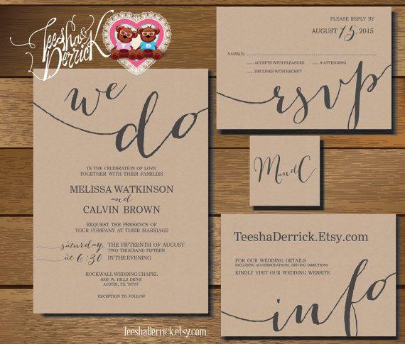 Druckbare Hochzeit Einladung Suite (w0282), bestehend aus Einladung, RSVP, Monogramm und Info-Design in Hand nummerierte Typografie Thema.