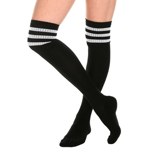 Black And White Cushioned Knee-High Crew Socks Hot Topic ($6.99) ❤ liked on Polyvore featuring intimates, hosiery, socks, knee high socks, knee length socks, extra long socks, acrylic socks and black white socks