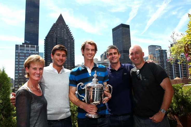 Andy Murray with his team & mum, Judy, celebrating his US Open win in Central Park, NYC
