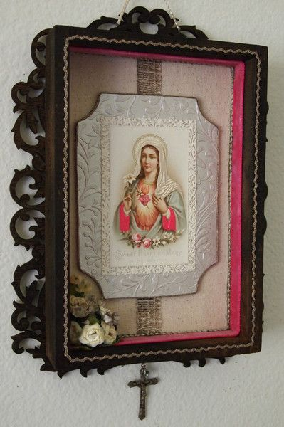 Virgin Mary wall shrine features an exquisite antique Victorian era holy card of the Blessed Mother, trimmed with antique French velvet and metallic trims, and a vintage Crucifix
