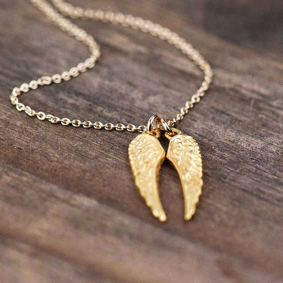 Gold Angel Wings Necklace / 24K Gold Vermeil Wings on 14K Gold Filled Chain ..... I need this please