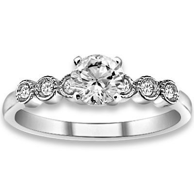 0.59 ctw 14k WG Natural I-J Color, VS - SI  Clarity, Accent Diamonds Engagement Ring