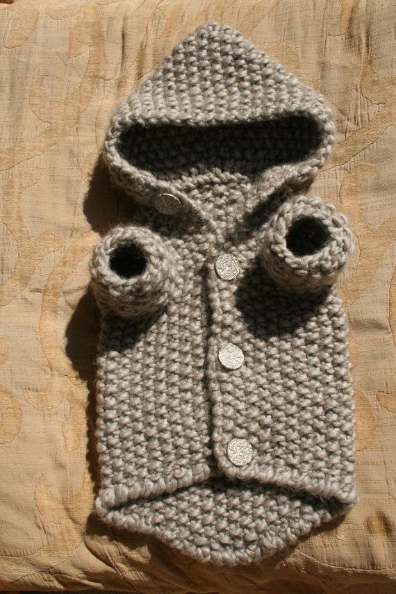 Dog Hoodie Sweater Grey Pet Clothing Hand Knit Dog by BubaDog$31.00 on etsy another good one for wazi.