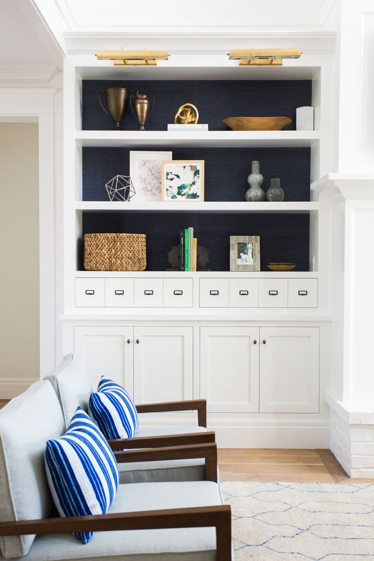 Built-ins with navy grasscloth in our Windsong Project || Studio McGee