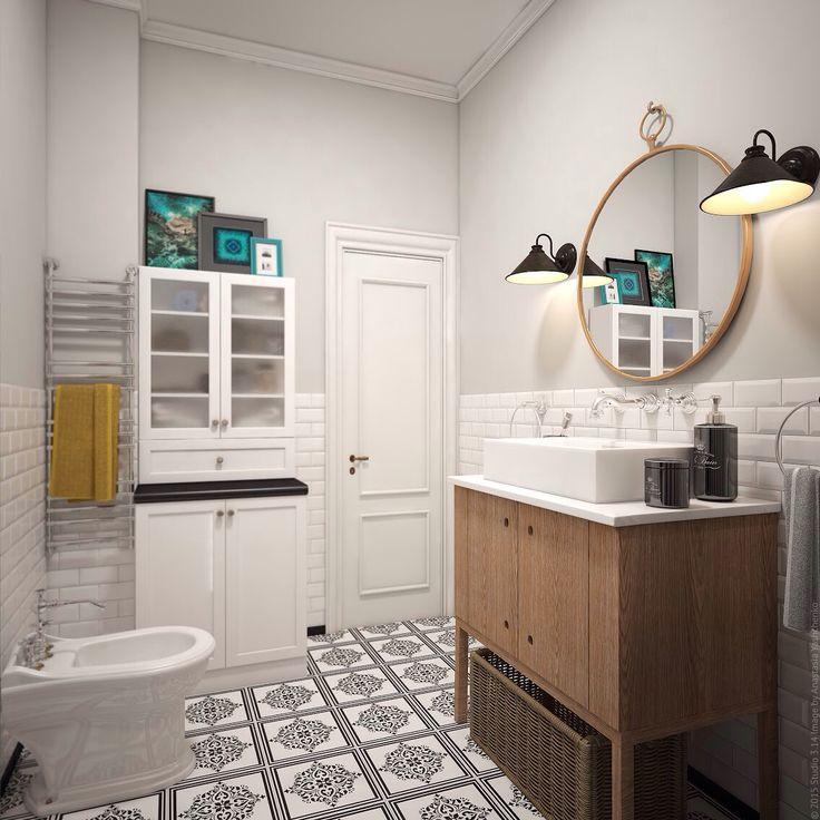 Бирюзовые акценты в дизайне ванной комнаты на Ленинском проспекте в Москве.