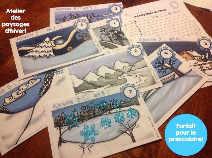 French Winter Math Center/ Paysages d'hiver {Préscolaire}