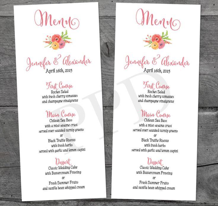 confetti daydreams wedding invitations%0A Watercolor Flower Wedding Menu Printable Menu  Wedding Menu Card  DIY  Wedding Menu