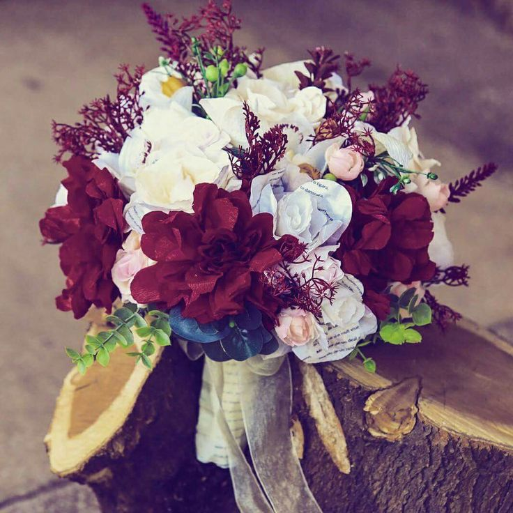 #wedding . #colour . #marsala . #bouquet . #wine . #paperFlowers . #bride .