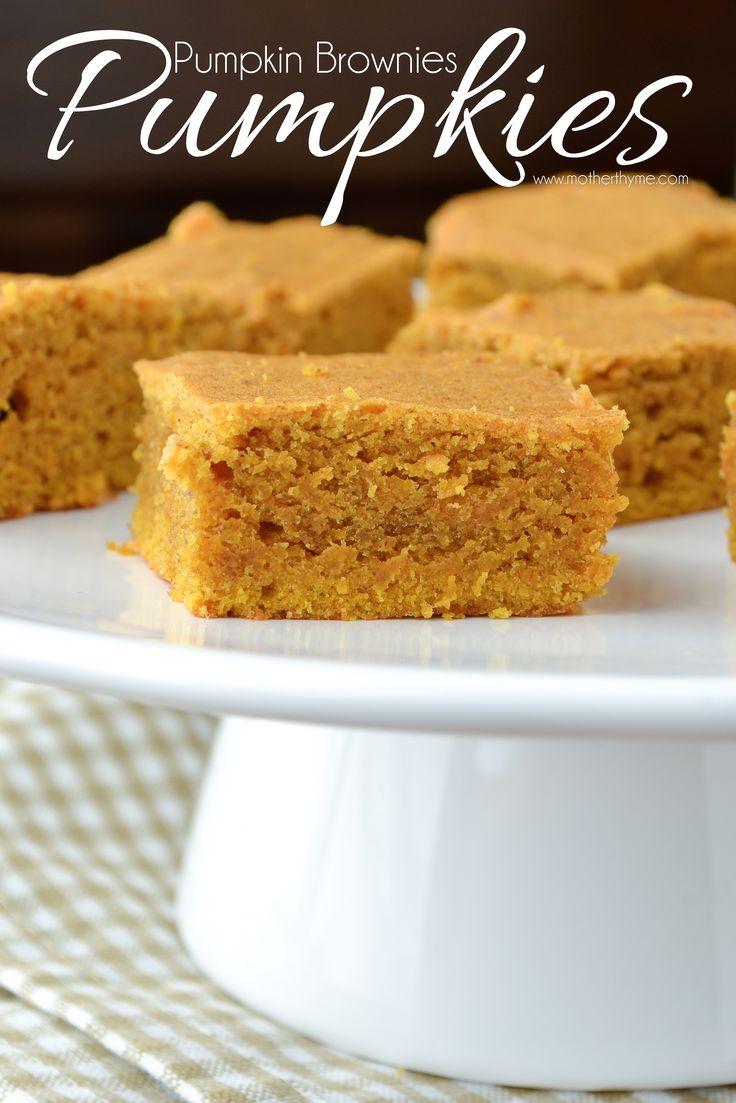 Pumpkies (Pumpkin Brownies) - www.motherthyme.com
