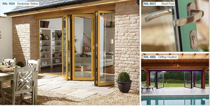 3 colours from Origin's new beach hut colour range for bi-fold doors