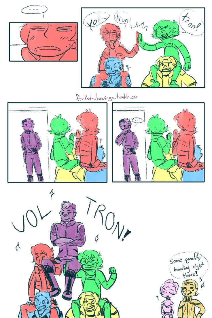 """VLD fancomic - Forming Voltron, old-fashioned way """"And I'll form the head!"""" (2/2) DaPanda's sideblog for doodles and reblogs of five space-kids and their pet…"""
