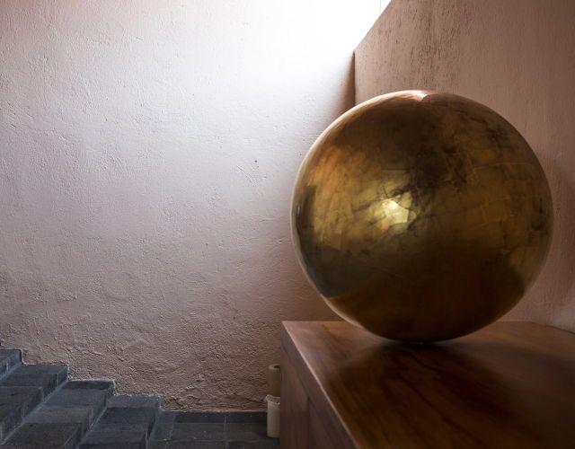 MATHIAS GOERITZ, Esfera, bronze sculpture, c.1950s. Featured at the Eduardo Prieto Lopez House (aka.Casa Pedregal) in Jardines del Pedregal, Mexico City. Designed by a long time collaborator to Goeritz, architect Luis Barragán in 1945-1953