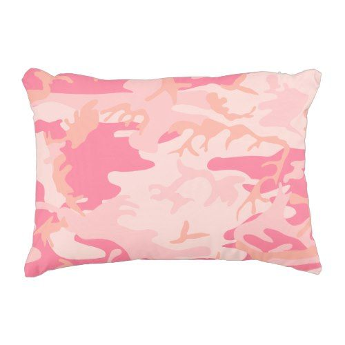 Light Pink Dark Pink and Peach Camo Camouflage Accent Pillow