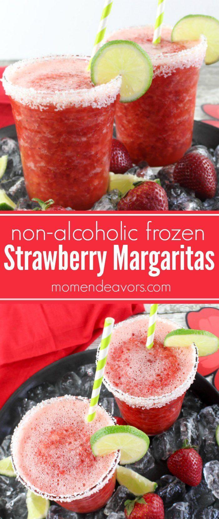 Non-Alcoholic Frozen Strawberry Margaritas - a delicious fruity mocktail recipe.