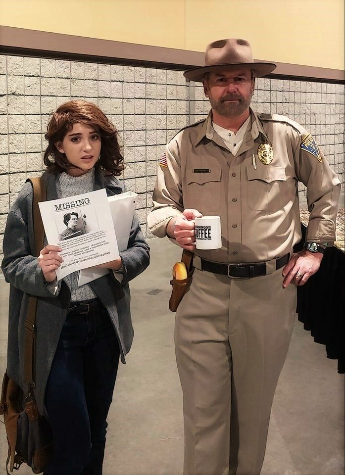 At Long Beach Comic Expo 2018, Chief Jim Hopper with Nancy