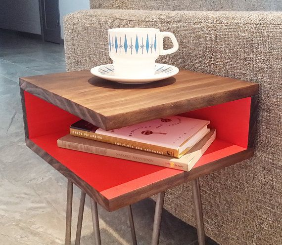 Mid-Century Modern Side Table, Hairpin Legs, Wood, Nightstand, End Table, Sofa Table, Corner Table, Square, Small