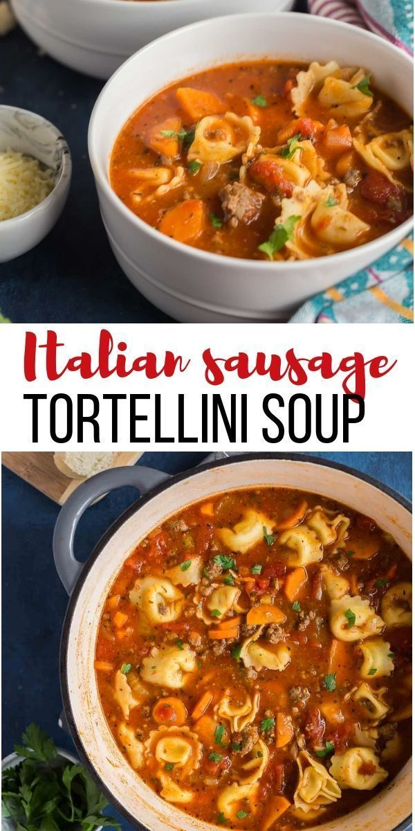 This Sausage Tortellini Soup is a tomato-based soup loaded with vegetables, Ital…