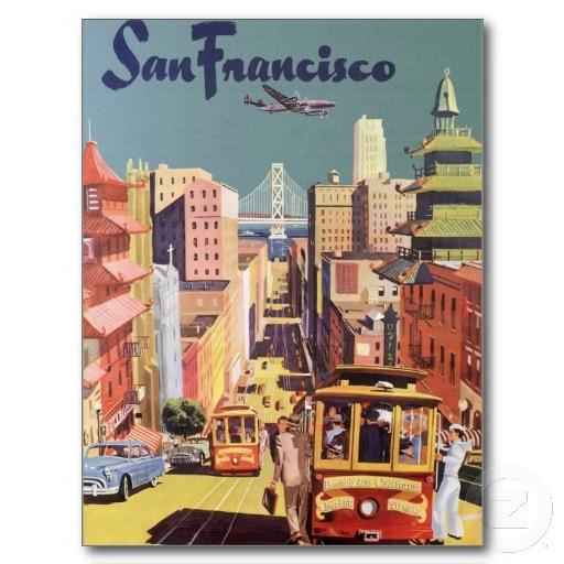 Vintage Travel Poster, San Francisco, California Post Card