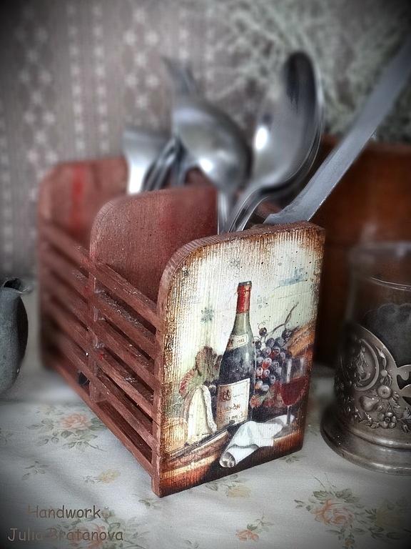 """Кухня ручной работы. Ярмарка Мастеров - ручная работа Подставка для столовых приборов """"Вино и виноград"""". Handmade."""