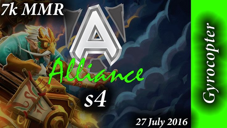 Alliance s4 Gyrocopter with Akke & EGM 20min win 7k MMR Full Game Dota 2