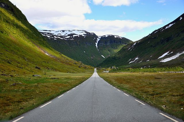 Roads like this are very rare in Norway, and especially on the west coast, and even more especially in the mountains.