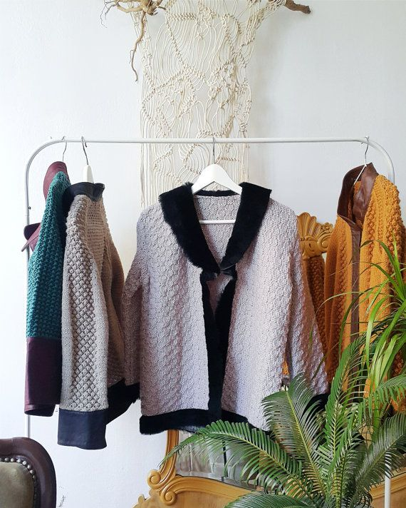 hand knitted ladies cardigan wool leather cardigan by WallKnot