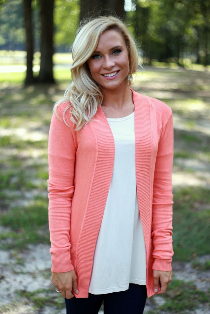 coral cardigan knit with pockets