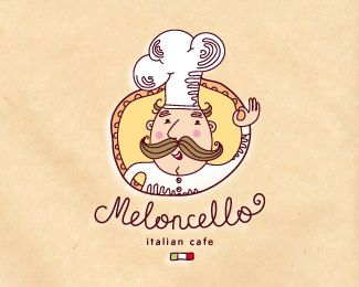 Meloncello Italian Cafe logo design. I think this is really great because it sells the italian idea with the chef and italian flag. Very fun more artsy logo.