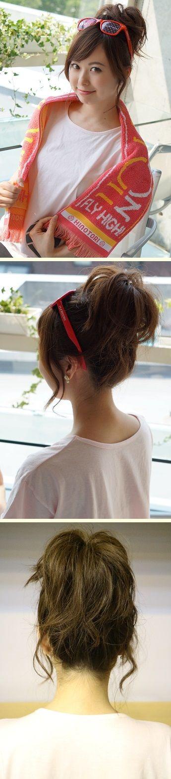「サングラスを頭にかけること前提」のまとめ髪 かわいすぎる「スポーツ観戦ヘア」アレンジ実例7つ フェスやライブなどアクティブな日におすすめ☆ #髪型 #ヘアスタイル #ヘアアレンジ #hairstyle